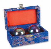 CHINESE HEALTH EXERCISE STRESS BAODING BALLS RELAXATION THERAPY RAINBOW CHROME