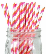 Just Artefacts - Decorative Paper Straws 100pcs - Striped Pattern - Bubblegum Pink & Orange - Decorative Paper Straws for Birthday Parties, Weddings, Baby Showers, and Life Celebrations!