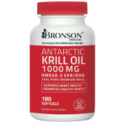 Bronson Antarctic Krill Oil 1000 mg with Astaxanthin, 180 Softgels