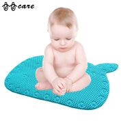 BBCare® Whale Shaped Baby Non-Slip Bathtub Mat with Strong Suction Cups-Blue