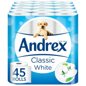Andrex Classic White Toilet Roll Tissue Paper - 45 Rolls