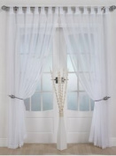 Woven Voile Tab Top Panel. Buy One Panel Get One Free. Finished in White. 58 Wide x 90 Drop by The Textile House