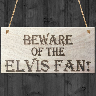 """Red Ocean """"Beware of The Elvis Fan Novelty Hanging Shabby Chic Plaque Gift"""" Plaque, Wood, Brown"""