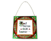 'God Bless Our Home' Celtic Stained Glass Suncatcher Window Hang