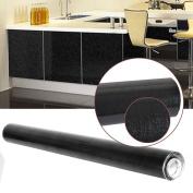 Rayinblue Wallpaper Sticker Self Adhesive Fablon Gloss Matt Stickers for Kitchen Sliding Door Decor Draws Cover Glitter Black - 61cm*10m