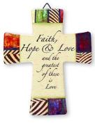 Faith - Glazed Porcelain Cross GIFT SET INCLUDES A LOURDES PRAYER CARD