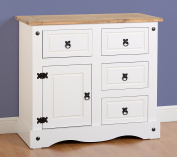 Corona 1 Door 4 Drawer Sideboard in White / Distressed Waxed Pine