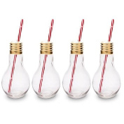 CKB Ltd® Pack of 4 Edison Light Bulb Novelty Drinking Glasses With Straw 400ml - Ideal for Soft Drinks, Beers, Cocktails & Rum Based Long Drinks