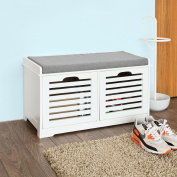 SoBuy® White Storage Bench with 2 Drawers & Removable Seat Cushion, Shoe Cabinet Shoe Bench, FSR23-K-W