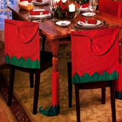 Set Of 4 Elf Hat Christmas Theme Chair Hat Back Covers And Table Leg Covers Xmas Party Dinner Dining Table Festive Decoration Gift