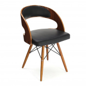 Premier Housewares Walnut Veneer and Leather Effect Occasional Chair - Black