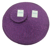 Metallic Effect Easy Clean Purple Round (Circular) Placemat And Coaster Package Set -Each Pack Contains 4 Placemats (12in/30cm Approx) And 4 Coasters