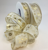 Wired luxury cream/gold snowflake ribbon 40mm x 1m cut length