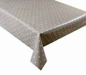 2 metres (200 x 137cm) vinyl tablecloth, 6 Seater Size, beige polka dot, wipe clean textile backed VINYL TABLE CLOTH