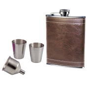 240ml Brown Leather Hip Flask With 2 Cups & Funnel Hip Flask Set Gift Set Prime Homewares®