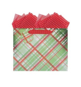 Gift Wrap Company Vogue Small Gift Bag, Peppy Plaid
