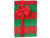 26m Roll Red & Green Holly Stripes Wrapping Paper - 60cm wide - 16sqm