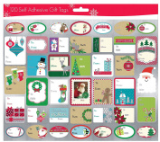 Pack of 120 Self Adhesive Christmas Gift Labels 3 Sheets with 40 Different Designs Xmas Gift Labels