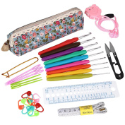 SOLEDI 31pcs Crochet Hooks Set Crochet Hooks with Grips Sewing Yarn Needles Stitch Markers Gauge Ruler Scissors Row Counter Crochet Hook Case Organiser