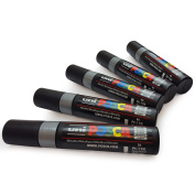 UNI-BALL POSCA MARKER PEN PC-17K - XXL Chisel Tip for Large Backgrounds - 5 x Silver