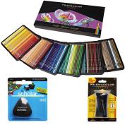Prismacolor Coloured Pencils Box of 150 Assorted Colours, Triangular Scholar Pencil Eraser and Premier Pencil Sharpener
