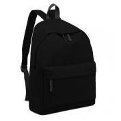 Black Plain Unisex Rucksack Fashion Backpack
