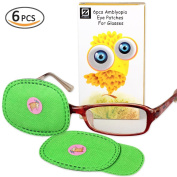 Plinrise 6PCS Non Woven Fabric Amblyopia Eye Patch For Glasses, Treat Lazy Eye, Amblyopia And Strabismus,Eye Patch For Children, Green