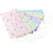 Ewandastore 20 Pcs Colourful Cute 3 Layer Respirator Masks,Non-woven Fabric Disposable Surgical Dust Filter Earloop Mouth Cover Beauty Nail Salon Face Mask