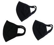 3 Pcs Unisex PM 2.5 Pollen Dust Face Mouth Mask Anti Dust Activated Carbon Cotton Warm Masks Filter Respirator Reusable Washable Allergy Flu Gauze Mask for Women & Men, All Black