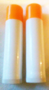 10 .440ml White Plastic Empty Lip Balm Containers Dispensers Tubes With Push Up and Orange Circle Cap