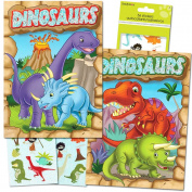 Dinosaur Colouring Book Super Set Kids Toddler -- 2 Books and Over 50 Dinosaur Stickers