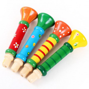 Multi-Colour Wooden Horn, Misaky Baby kids Hooter Trumpet Instruments Music Toys