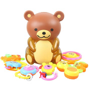 Litzpy Teddy Bear 7 Piece Rattle Set Piggy Bank Baby Gift Toy