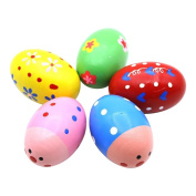 EITC 5pcs Maracas Egg Shakers Music Percussion Toy for Kids Colourful Wooden Egg Music Shaker Instrument Play Toy