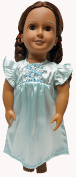 Turquoise Satin Nightgown For 46cm Girl Dolls Like American Girl, Our Generation Dolls