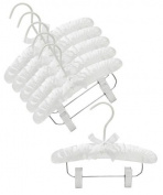 Only Hangers® 25cm White Baby Satin Padded Hangers with Clips- Pack of