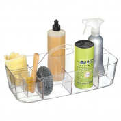 mDesign House Cleaning Supplies Organiser Caddy for Spray Bottles, Cloths, Sponges, Brushes - Large, Clear