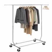 Yontree Chrome Rod Garment Rack with Extendable Adjustable Rail Clothing Hanging Drying with Flexible Rolling Removable Wheels