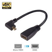 MEALINK 15cm High Speed Micro HDMI Male (Type D) to HDMI Female (Type A) Adapter compatible with Kindle, Blackberry, HTC, Motorola, Samsung, Sony, Pantech