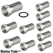 Maxima Trade Set 10 x Angle Adapter F Plug to Right Angled 90 Degree Adaptor Sat Connector Joiner Pack of 10 Silver