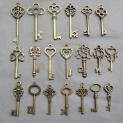 SL crafts Mixed Set of 20 Skeleton Keys Antiqued Brass Bronze Charms Pendants Wedding favour 38mm-68mm