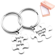 "Top Plaza 2pcs/Set Antique Silver Alloy ""You Are My Person"" Key Chain Key Ring - Valentines Gift"