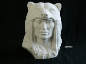 Provincial Grizzly Spirit Native American Warrior in Bear Headdress Ready to Paint (U-Paint) Ceramic Bisque