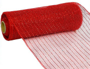 25cm x 9.1m Deco Poly Mesh Ribbon - Metallic Red and Red Foil : RE130124