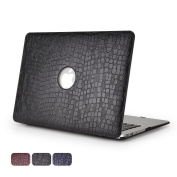 Macbook Air 13 Case - Dowswin Hard Shell Cover with Leather Surface [Inclusive Leathery Design with Back Round Hole] Perfect Protection for Apple Macbook