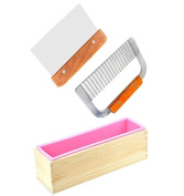 6MILES 2 Pcs Stainless Steel Wavy+ Straight Soap Mould Loaf Garnish Cake Cutter Cutting Tool Home Kitchen Graters Peelers Slicers Knife Set+Wood Box HomemadeSoap Mould