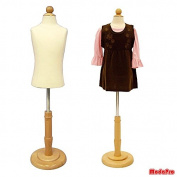 2 Years Old Child/Kids Body Dress Form Mannequin White Jersey Form Cover with Wooden Base