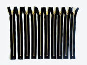 YKK 20cm #4.5 Style Brass Metal Closed End Zipper On Black Tape - Set of 10