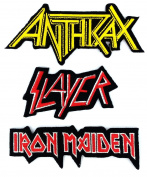 Set_ROCK014 - Anthrax Patch, Slayer Patch and Iron Maiden Patch, 3 Pcs Heavy Metal Patches, Applique Embroidered Patches - Rock Band Iron on Patches