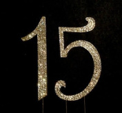 GOLD Rhinestone Crystal Covered 15 Quinceanera 15th Birthday Number Cake Topper
